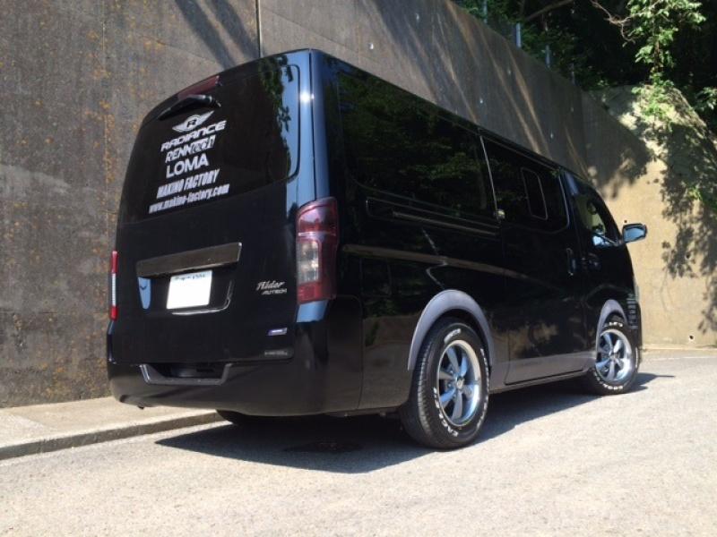 日産 NV350キャラバン 2.5DT 4WD ライラーブラックラインホイールサイズ:16x6.5 6-139.7 +37Special Thanks:日光商事 Makino Factory