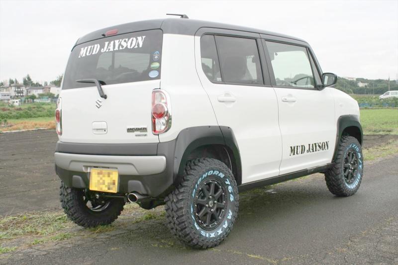 Suzuki ハスラー Xtreme-J 14x4.5 4-100 +43 Maxxis BigHorn 27x8.5R14 車高2.5inch Up 9.5mmオーバーフェンダー装着 Special Thanks:MUDJAYSON
